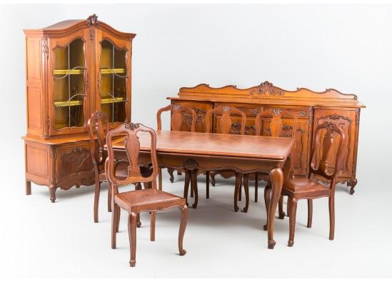 Антикварная мебель для столовой в стиле Рококо Людовик XV, Голландия, середина 20 века