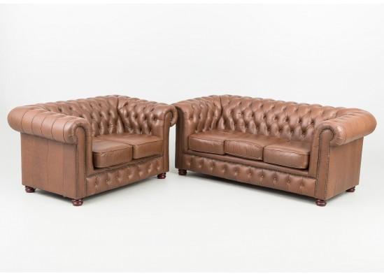 Комплект кожаной мебели в стиле Честерфилд, Франция, середина 20 века