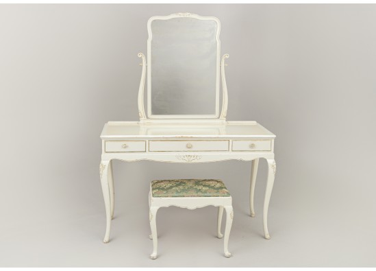 Dressing table with pouf
