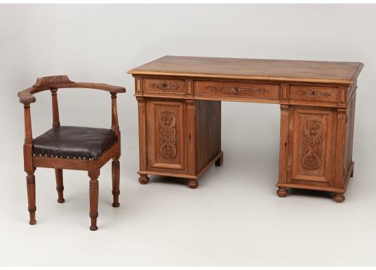 Desk with armchair